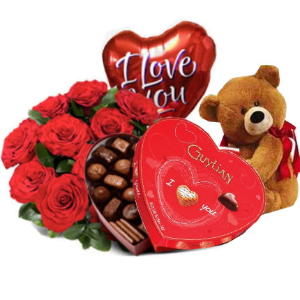 Red rosesbrown bearguylian chocolate with i love u balloon to 12 red rosesbrown bearguylian chocolate with i love u balloon to pampanga negle Image collections