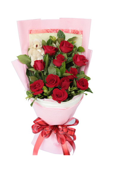 12 red roses bouquet with bear pampanga