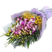 12 Mixed Purple Orchids in a Bouquet
