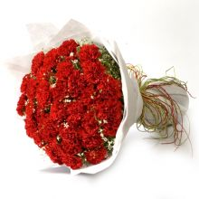 48 Red Carnations in Bouquet