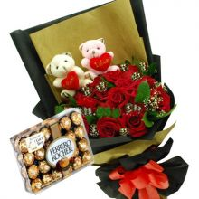 12 Red Roses,2 Bear with Ferrero Rocher Chocolates