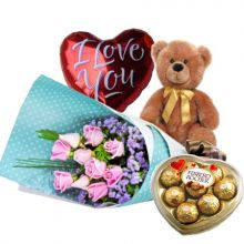 12 Light Pink Roses,Brown Bear,Ferrero Rocher Chocolate with I Love U Balloon to Pampanga