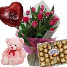 12 Red Roses Bouquet,Pink Bear,Ferrero Rocher Chocolate Box with I Love U Balloon to Pampanga