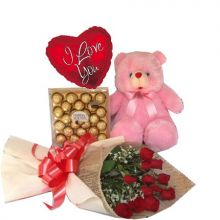 12 Red Roses,Pink Bear,Ferrero Rocher Chocolate with I Love U Balloon to Pampanga