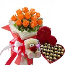 12 Orange Roses,Bear with Lindt Chocolate Box Send to Pampanga