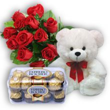 12 Red Roses, Bear with Ferrero Chocolate Send to Pampanga