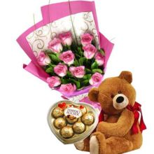 12 Red Roses,Brown Bear with Ferrero Rocher Chocolate Box Send to Pampanga