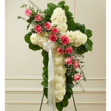 White and Pink Elegant Cross Spray Send to Pampanga