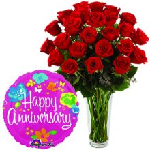 Send 24 Red Roses in Vase With Anniversary Mylar Balloon to Pampanga