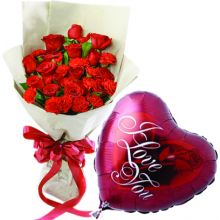 Send 24 Pieces Roses With 1 Piece Love You Balloon to Pampanga
