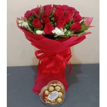 Send 24 red rose with ferrero heart shape chocolate box to Pampanga