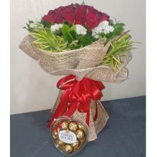 Send 18 red rose with ferrero heart shape chocolate box to Pampanga