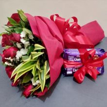 12 Red Roses with Cadbury Dairy Milk Chocolate to Pampanga