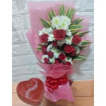 One Dozen Roses Bouquet with Chocolate Box to Pampanga