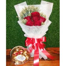 5 Pcs Red Roses with Ferrero Box Chocolate to Pampanga