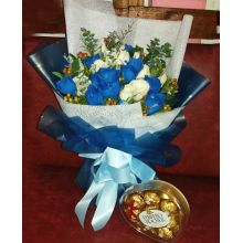 24 White and Blue Roses with Chocolates Box to Pampanga