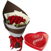 Send 12 Red Roses with Lindt Heart Chocolates to Pampanga