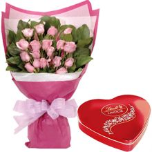 Send 1 Dozen Pink Roses with Chocolate Box to Pampanga