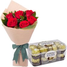 Send 6 Red Rose with 16 Ferrero Chocolate Box to Pampanga