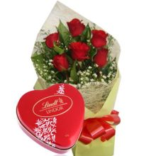 Send 6 Red Roses with Lindt Chocolate to Pampanga