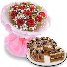 Send 12 Red Roses With Mocha Crumble Cake By Red Ribbon to Pampanga