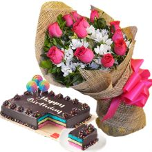 Send 12 Red Roses With Rainbow Dedication Cake By Red Ribbon to Pampanga