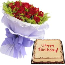 Send 24 Red Roses With Mocha Dedication Cake By Red Ribbon to Pampanga