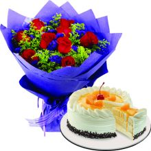 Send 12 Red Roses With Peach Mango Symphony Cake By Red Ribbon to Pampanga