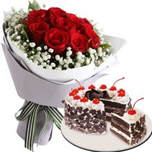 Send 12 Red Roses With Black Forest Cake By Red Ribbon to Pampanga