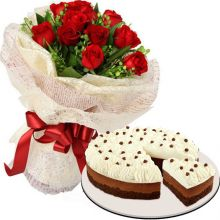 Send 12 Roses w/ Chocolate Mousse Cake by Red Ribbon to Pampanga