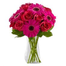 6 Pink Gerberas and 6 Red Roses in Vase Pampanga