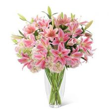 15 Pink Lilies with FREE Glass Vase in Pampanga