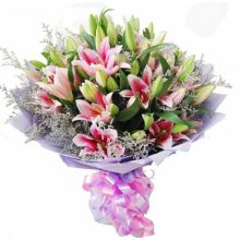 Six Pink Lilies Bouquet in Pampanga