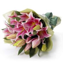 One Dozen Pink Lilies Bouquet in Pampanga