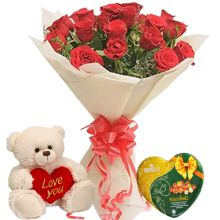 Send 24 Red Roses With Vochelle Cranberries Chocolate & Cute Small Bear to Pampanga