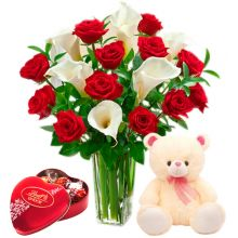 Send 12 Red Roses & Calla Lili With Lindt Chocolate & Small Cute Bear to Pampanga