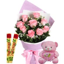 Send 12 Pink Roses With Toblerone Chocolate & Cute Small Pink Bear to Pampanga