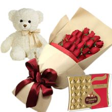 Send 24 Red Roses With Hershey's Kisses Deluxe Chocolate & Small Bear to Pampanga