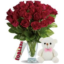 Send 24 Red Roses In Vase With Toblerone Chocolate & Small Bear to Pampanga