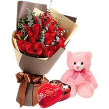 Send 12 Red Roses With Lindt Chocolate And Small Bear to Pampanga