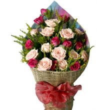 24 Peach & Pink Roses in Bouquet Pampanga