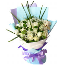 12 White Roses Bouquet with Bear Pampanga
