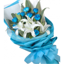 12 Blue Roses Bouquet with Lily in Pampanga