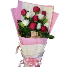 12 Red & White Roses Bouquet with Bear Pampanga