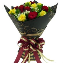 12 Red & Yellow Roses in Bouquet Pampanga