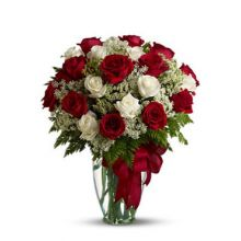 24 Red & White Rose with Free Glass Vase Pampanga