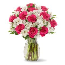 12 Pink Roses & Seasonal Flowers with Free Vase Pampanga