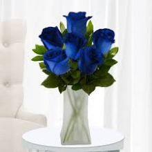Six Blue Roses with Free Glass Vase Pampanga