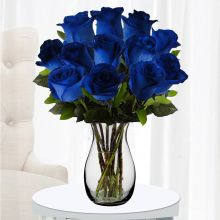 One Dozen Blue Roses with Free Glass Vase Pampanga