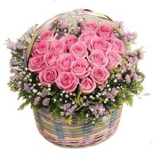 12 Pink Roses in Basket Pampanga